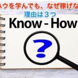 ブログ・You Tube・SNSのノウハウを学んでも、なぜ!稼げないのか。本質的理由は3つ